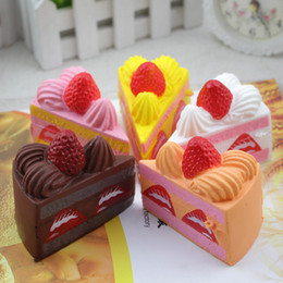 Wholesale Universal Toys - Cute Squishy Strawberry Layer Cake Jumbo Slow Rising Phone Straps Cream Squeeze Toys Gift Stress Reliever