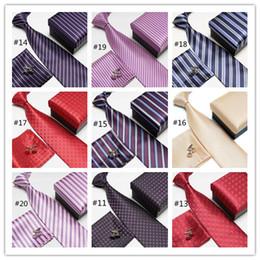 Wholesale Necktie Hanky Cuff - Men's Fashion High Quality Striped Neck Tie Set Gift for Boyfriend Neckties Cufflinks Hankies Silk Ties Cuff Links Pocket Handkerchief
