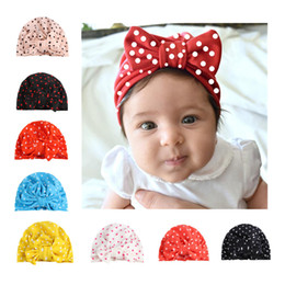 Wholesale Golf Bow Tie - 2017 children's hat new polka dot print baby bow tie with head cap Indian hat and European style