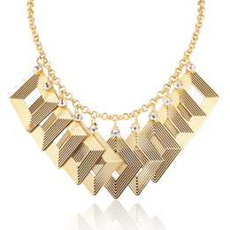 Wholesale Chunky Gold Plated Chain - Statement necklace in Choker 2016 New Fashion Jewelry Gold  Platinum Plated Cocktail Party Chunky Maxi Pendants Necklaces