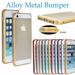 Wholesale Double Color Metal Aluminum Case - Double Color Golden 0.7 mm Ultra Thin Slim Aluminum Alloy Metal Bumper with Botton Hard Case For iPhone 5S iPhone 6 iPhone 6 Plus MOQ:10pcs