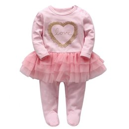 Wholesale infant long sleeve dresses - Baby Romper Infant Wrap Foot Rompers Baby Girl LoveTutu Dress Romper Spring Pink Color Jumpsuit 6 p l