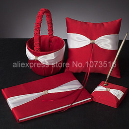 Wholesale Silk Wedding Guest Book - Wholesale-Wedding Ceremony Accessories Red Cloth White Silk Rhinestone Basket Garter Guest Book Pen Set Ring Pillow Wedding Set