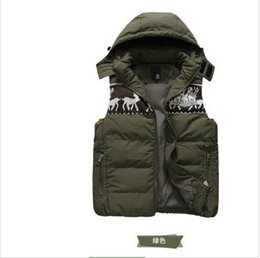Wholesale Men Vest Jacket Hood - Fall-2015 New Autumn Winter Thick Warm Men's Vest Hooded Outdoor Tops Plus Size Hood Sleeveless boy Wadded Jacket Free drop shipping