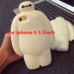 Wholesale Case Iphone C Cute - Wholesale-2015 Newest Lovely 3D Cute Cartoon Big Hero 6 Baymax Soft Silicone Back Case Cover For Apple iPhone 6 6G plus 5 5s 5C C