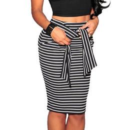 Wholesale White Satin Pencil Skirt - Striped Cotton Women Skirt 2018 High Waist Lace Up Girls Pencil Skirt Knee-Length Female Skirt Spring Summer