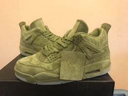 Wholesale Mens Glow Dark Shoes - 2017 MENS NEW RETRO KAWS X AIR RETRO 4 RED GREEN GREY PURPLE SUEDE GLOW IN DARK BASKETBALL SHOES SNEAKERS WITH BOX