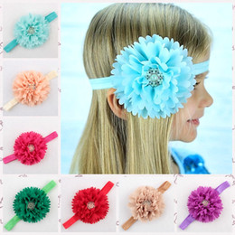 Wholesale Wholesale Photography Props For Infants - 2015 Baby headbands Pearl Rhinestone flower Headbands for girls Children's hair accessories Infants Birthday gift Photography props 16 color