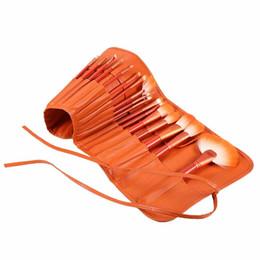 Eye-liner orange en Ligne-24pcs professionnel Orange Kabuki Pinceaux De Maquillage Ensemble De Base En Bois Poudre Fard À Paupières Eyeliner Bb Crème Maquillage Pinceaux Avec Sac