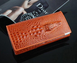 Wholesale Checkbook Cover Leather Black - Crocodile Design Genuine Leather Women Wallet Lady Handbag Noble Luxurious Personalized Custom Checkbook Credit Card Holder Purse Clutch