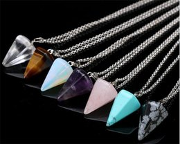 Wholesale Gemstone Necklaces - Natural Gemstone Pendant Necklace Crystal Healing Chakra Reiki Silver Stone Hexagonal Prisme Cone Pendulum Charm Necklaces R071