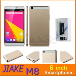 Wholesale Cheapest Quad Core Phones - Cheapest 6 inch smartphone MTK6580 Quad core 512 4GB 960*540 Android 4.4 Dual SIM cam gesture BT 3G WCDMA unlocked jiake M8 mobile phone 20