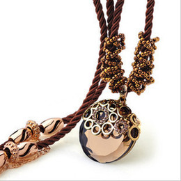 Wholesale Rose Carved Bead - 2014 new rose gold rope beads carved round mirror women long sweater pendant necklace free shipping