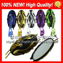 Wholesale Motorcycle Rear View - 10 Pairs Lot 6 colors Motorcycle Chrome Mirror Rear view Mirrors Rearview side mirror Skeleton Ghost Hand Mirror Skull Mirrors No.: 12