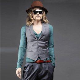 Wholesale Men S Suit Bags - Fall-The new trend of men's small vest Cultivate one's morality vest Suit bag buckles vest