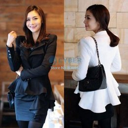 Wholesale One Button Swallow Tail Blazer - 2014 New Fashion Women Casual Cotton Slim Suit One Button Blazer Swallow Tail Style Jacket White Black S M L XL SV000775 b006