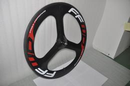 Wholesale Tubular Tri Spoke Front Wheel - NEW FFWD 3-spoke tubular carbon bike wheel Full Carbon glossy Tri-spoke 3 spokes carbon wheelset TT fixed track Bike Front wheel
