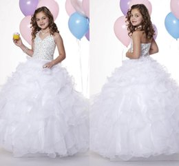 Wholesale Girls Formal Pagent Dresses - 2015 Pure White Pagent Dresses Grils Halter Organza with Zipper Back Ruffled Flower Girl Princess Gowns Formal Dresses for Girl