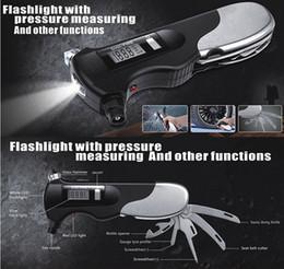 Motocicleta lanterna led on-line-NOVA Chegada 9-em-1 Medidor de Pressão Dos Pneus Digitais e Segurança Hammer Life-saving Fuga de Emergência com Lanterna LED para Carro / Motocicleta / bicicleta
