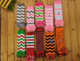 Wholesale Chevron Tights - Baby Toddler Chevron Leg Warmers Socks Ruffle Arm Leg Warmers Girls Legging Tights kneecap Socks Halloween