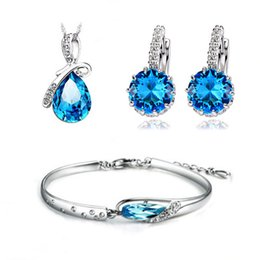 Wholesale Sterling Silver Necklace Bracelet Earring - Top Quality Blue Austria Crystal Jewelry Set,3 Platinum Plated & S925 Stamped,Fashion Ladies Jewelry Set OS44