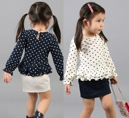 Wholesale Skirt Set Tight - 2015 Spring Children Girls Outfits Puff Sleeve Polk Dot Tshirts+Tights Skirts 2Pcs Set Kids Suits Girl Princess Outfit Clothing J3405