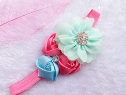 Wholesale Best Selling Kids Accessories - Best Selling Baby Kids Head Accessories Rosebud Chiffon Fabric Flower With Rhinestone Elegant Hair Wraps 8 Colors CF176