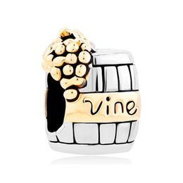 Wholesale Pandora Wine - fashion Golden Grape Wine Cask in Gold and rhodium Plating Bead European Charm Fit Pandora Bracelet