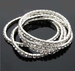Wholesale Stretchy Rhinestone Bracelets - Stretchy One Rows Bling Crystal Rhinestone Bracelets fashion bracelet chains Wedding Bride Crystal Rhinestone Bangle Jewelry Accessories