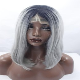 Wholesale Wig Silver Grey Short - lace front wigs Sallyhair High Temperature Synthetic Straight Short Ombre Black Silver Grey Color American African Bob Wigs Hair Black Women
