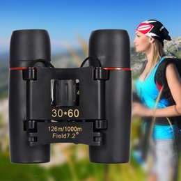 Wholesale Wholesale Binoculars - New Arrival Mini Folding Binoculars 30X60 Blue Red Film Coating Zoom High Definition Night Vision Optical Len Binocular Telescope