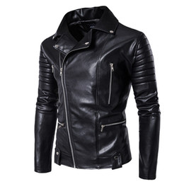 Wholesale Leather Jackets For Men 5xl - Jackets for men New winter cotton-padded clothes Leisure men's PU jackets leather harley coat collar cardigan chains cotton-padded jacket