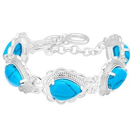 Wholesale Sterling Silver 925 Turquoise Bracelets - 925 Sterling Silver Plated Jewelry New Bracelet inlaid with turquoise jewelry trade spot