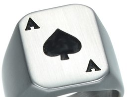 Wholesale Rings For Bikers - Punk Gothic Ace of Spades Poker Rings Heavy Metal Casting Titanium Stainless Steel Biker Ring for Men Jewelry