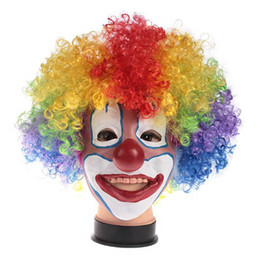Wholesale Multi Color Cosplay Wigs - Halloween Novelty Clown Mask and Wigs Full Face Latex Color Mask Cosplay Headwear Hair Prom Clown Props Dancing Party Costume 5pcs lot SD313