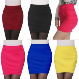 2019 faldas de mezclilla mujeres al por mayor 2014 mujeres de moda de verano falda plisada del color del caramelo de las señoras de cintura alta faldas cortas más tamaño elástico Mini Bodycon envío gratis