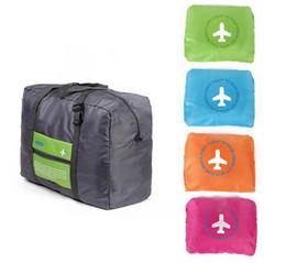 Wholesale Girls Large Shopping Bags - 32L Luggage handle-thru pocket large capacity folding portable shopping bag Duffel Bags Stuff Sacks Bag Organizer packs drop shipping