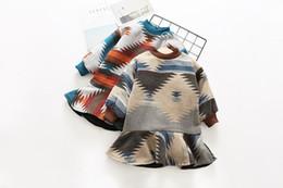 Wholesale Ruffles Clips - Girls Cotton-Clip Sweater Dresses Winter Thicker Asymmetrical Geometric Contrast Dazzle Color Falbala Zipper Skirt Fashion Clothing