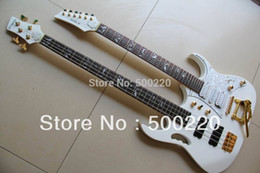 Wholesale Double Neck String Bass - Wholesale - White 7 Model Double neck electric guitar 6 String guitar & 4 String electric BASS 130501