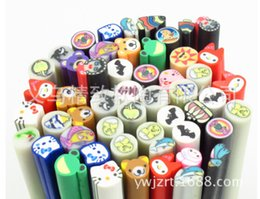 Wholesale Cell Phone Nails - Wholesale-Assorted 12styles 100pcs Nail Art Fimo Cane Rod Stickers Polymer Clay Fruits Nail Art Sticker Cell Phone Decoration Free Shipping