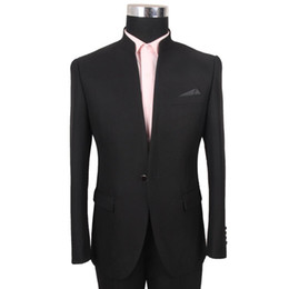 Wholesale Career Jackets - 2015 Business men suits a Chinese collar buckle tunic dress groom marriage office career suit 2 Piece Jacket+pant