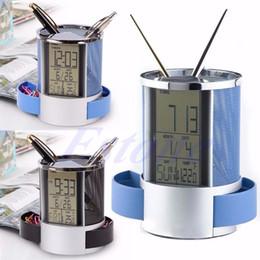 Wholesale Temp Time Alarm Clock - Wholesale-Free shipping Digital LCD Desk Alarm Clocks Stainless Steel Mesh Pen Holder Time Temp Calenda