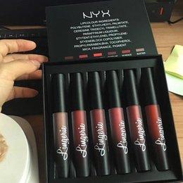 Wholesale luxury lingerie wholesalers - New Arrival NYX Lingerie Liquid Matte Lipstick 6pcs set Luxury Velvet Matte Nude Lip Gloss DHL