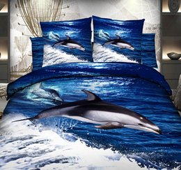 Wholesale Dolphin Bedspreads - 3D Blue ocean dolphin bedding sets bedspread duvet cover cal king fitted cotton bed sheets queen size double quilt bedsheet 5pcs