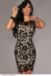 Wholesale Vestidos Crochet - lace vestidos femininos Fashion Black Crochet Nude Illusion Bodycon Summer Dress Women Dress vestido de festa 2014 LC21561