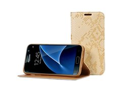 Wholesale Snake Skin Case Wallet - Leather Case For Samsung Galaxy S7 s7 edge plus snake Skin Leather Wallet Flip case with stand Holder Cover card slots