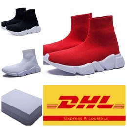 Wholesale Cheap Dhl Shoes - With Box Speed Trainer Sock Shoes Stretch-Knit High Top Trainer Shoes Cheap Sneaker Black White Woman Man Unisex Casual Socks Shoes Free DHL