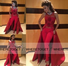 Wholesale Myriam Fare Dresses - 2016 Myriam Fares Evening Dresses Sheer Neck Sleeveless Applique New Designer Formal Party Prom Gowns With Pant Charming