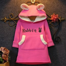 Wholesale Velvet Sweater Dress - Wholesale-Girls in autumn and winter rabbit hooded sweater quality velvet princess dress bottoming sweater