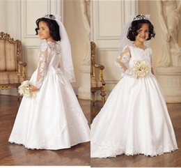 30a6877b48e Princess White Wedding Flower Girl Dresses 2016 Winter Lace Satin Sweep  Train Kids Pageant Gowns Christmas